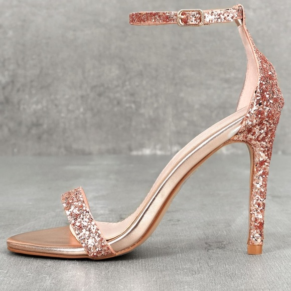 60ec7a983 Lulu s Shoes - Rose gold glitter heels